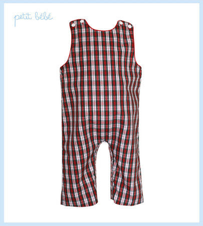 Petit Bebe Red Plaid Jon Jon