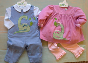 Blue Dinosaur Applique Longall Set