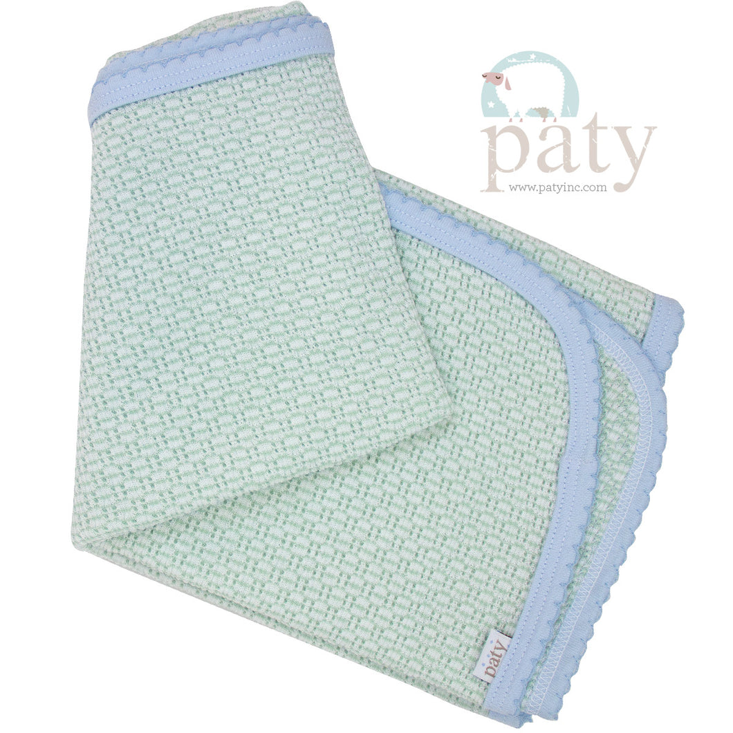 Mint With Blue Swaddle Blaket