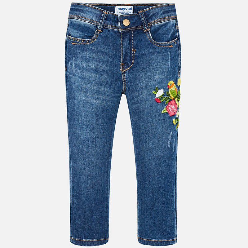 Flowered Embroidered Jeans