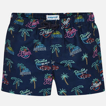 Load image into Gallery viewer, Navy Blue Patterned Swim Shorts