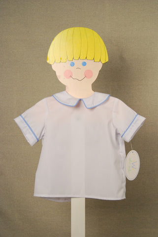 White Peter Pan Blue Piping Short Sleeve Shirt