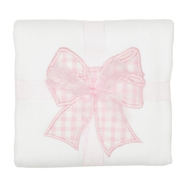 Pink Bow Appliqued Burp