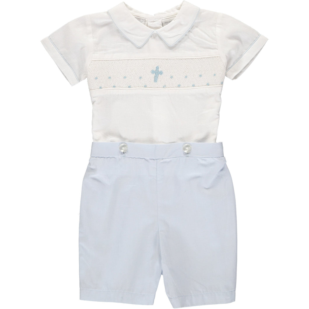 Baby Boys Hand Smocked Blue Cross Bobbie Suit