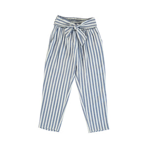 Blue Linen Stripe Pants