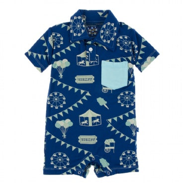 Flag Blue Carnival Polo Romper