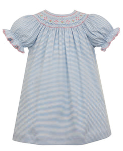 Blue & Pink Knit Stripe Smocked Bishop