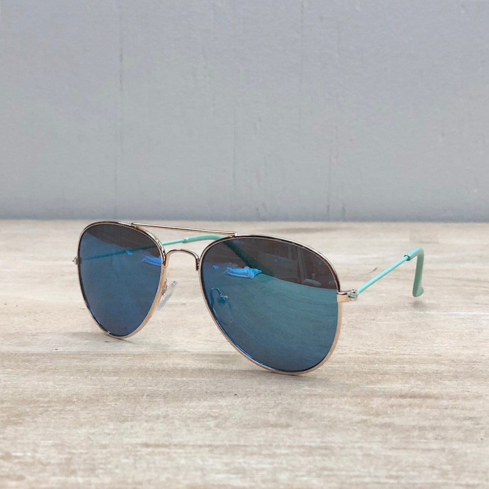 Mint & Blue Mirror Aviator Sunglasses