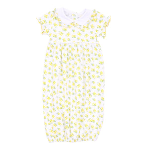 Lemonade Printed Collared Gathered Gown