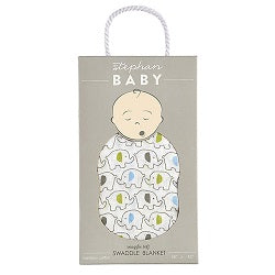 Blue Elephant Bamboo Swaddle