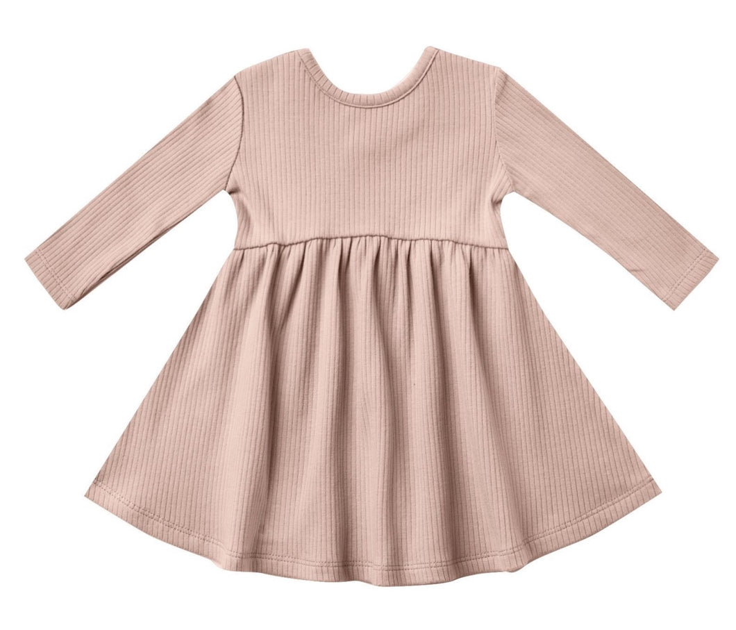 Petal Ribbed LS Dress & Bloomer