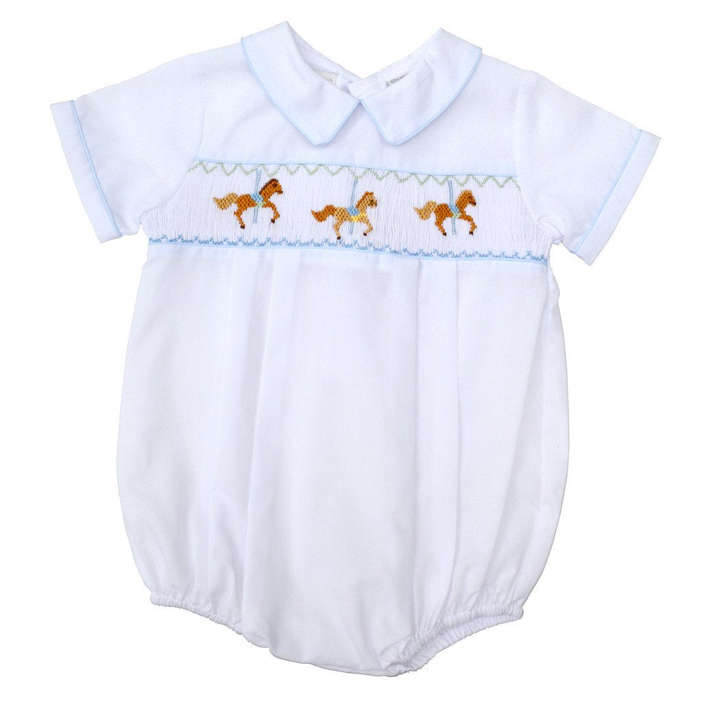 White Horse Carousel Hand Smocked Boy Creeper