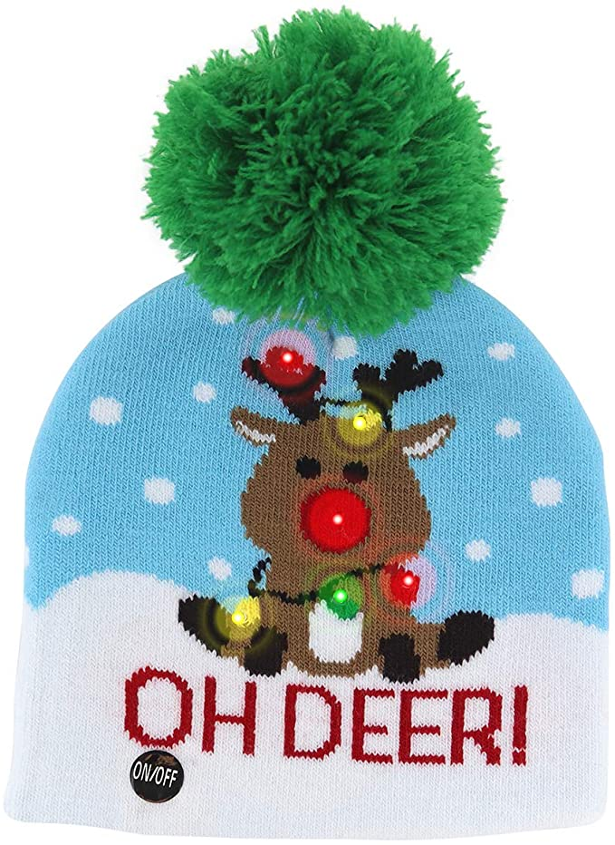Xmas Reindeer Light Up Hat