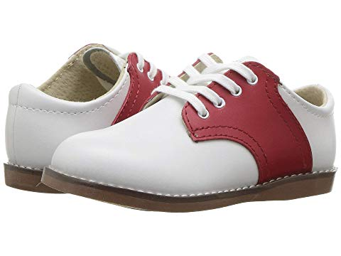 Apple Red & White Saddle Footmates Shoe