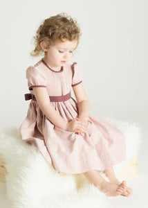Sophisticated Suede Short Sleeve Sash Yoke Dress