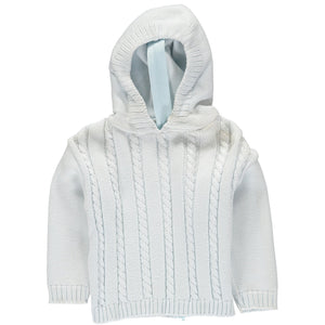 Blue Hooded Zip Back Sweater