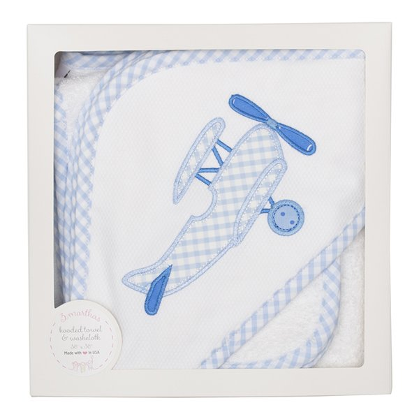 Blue Plane Hooded Towel & Washcloth Set