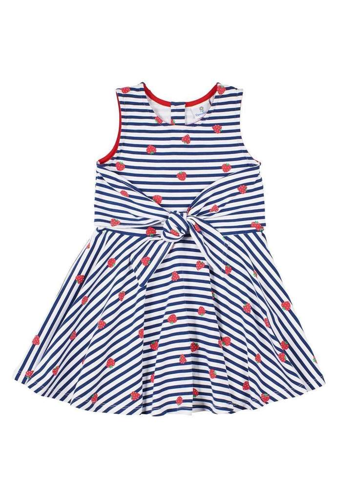 Navy & White Strawberry Front Tie Dress