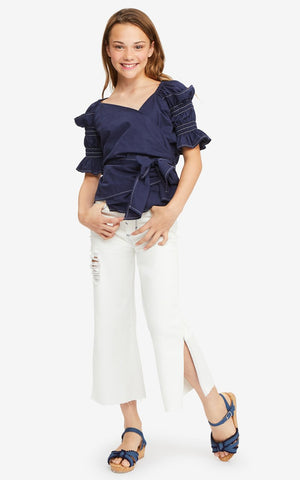 White Anya Destructed Wide Leg Pant