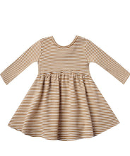 Load image into Gallery viewer, Walnut Stripe Ribbed LS Dress & Bloomer