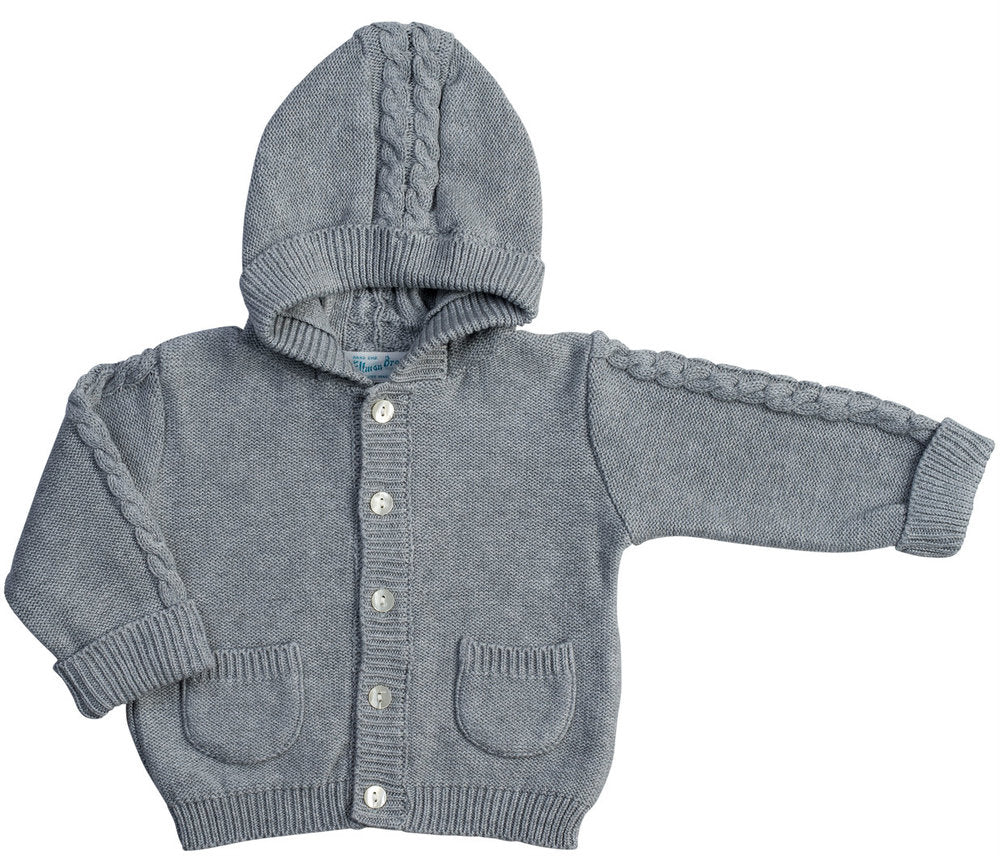 Grey Cable Hooded Cardigan