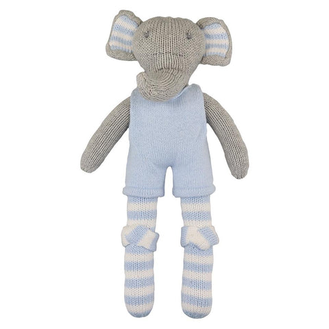 "14"" Blue Knit Elephant Doll"