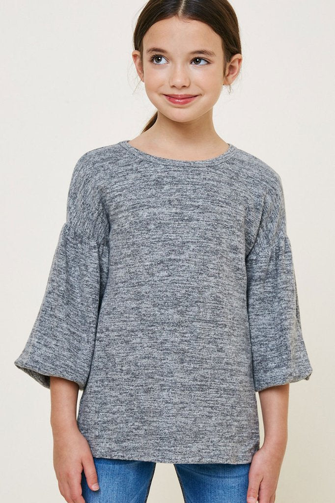 Grey Puff LS Top