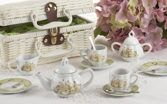 Bunny Porcelain Basket & Tea Set