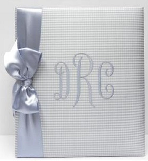 Blue Baby Check with Blue Satin Ribbon Monogrammed Baby Book