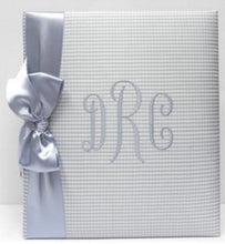 Load image into Gallery viewer, Blue Baby Check with Blue Satin Ribbon Monogrammed Baby Book