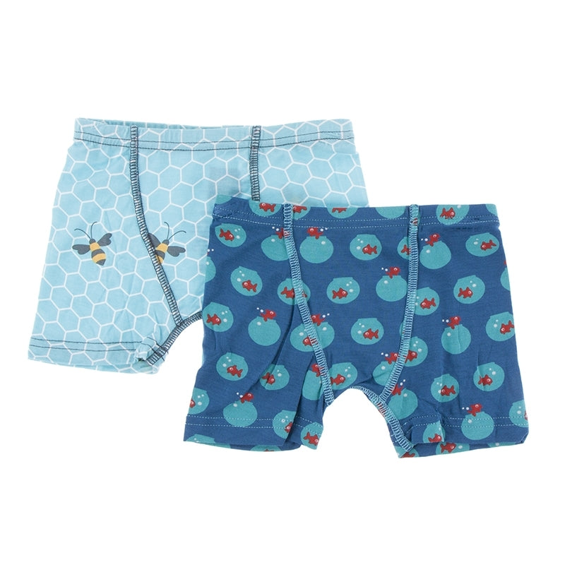 Glacier Honeycomb & Twilight Fishbowl Boxer Briefs