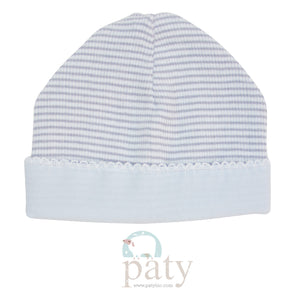 Grey With Blue Rib Knit Beanie Cap