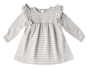 Fog Stripe Organic LS Flutter Dress & Bloomer Set