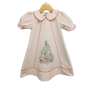 White Embroidered Christmas Tree Dress