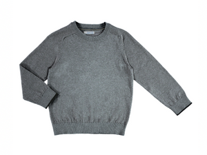 Gray Basic Cotton Round Sweater