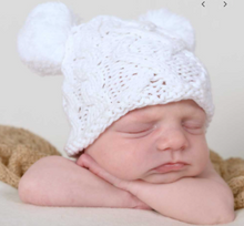 Load image into Gallery viewer, Aran White Double Pom Beanie