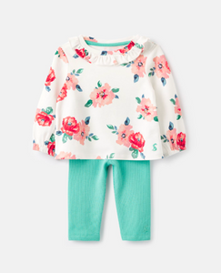 White Floral Posie Frill Top/Legging Set
