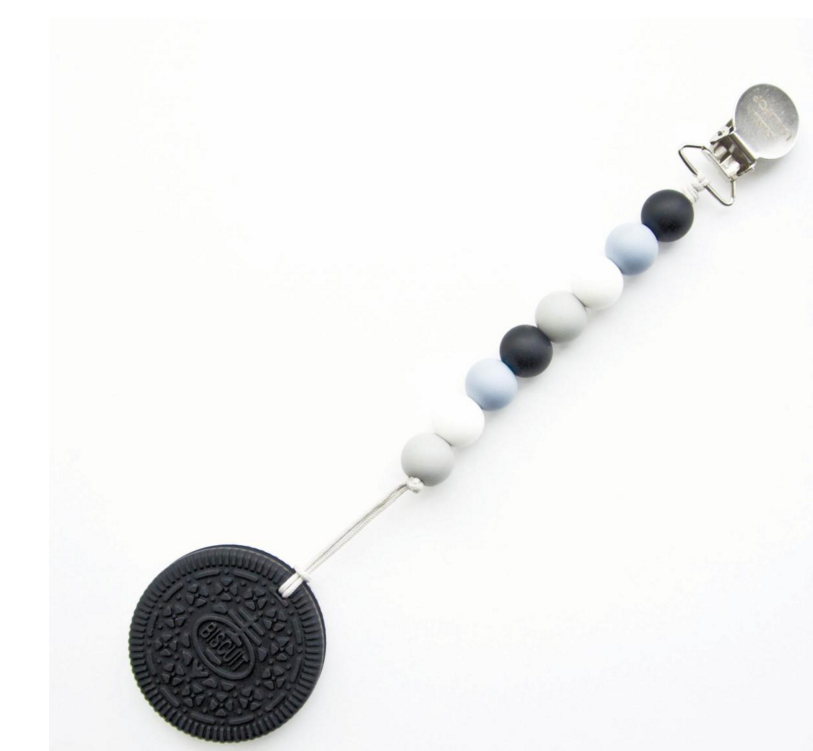 Chocolate Cookie Teether w/Black Blue Holder