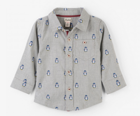 Dapper Penguins Baby Button Down