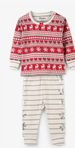 Fair Isle Fawn Organic Cotton Baby PJ Set