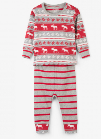 Fair Isle Moose Organic Cotton Baby Pajama Set