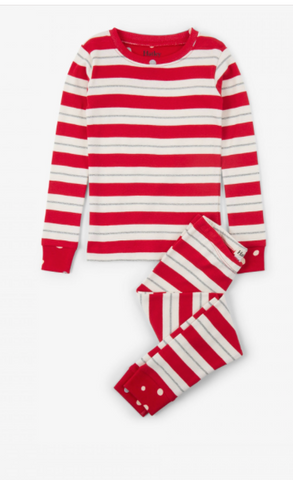 Metallic Stripe Holiday Organic Pajama Set