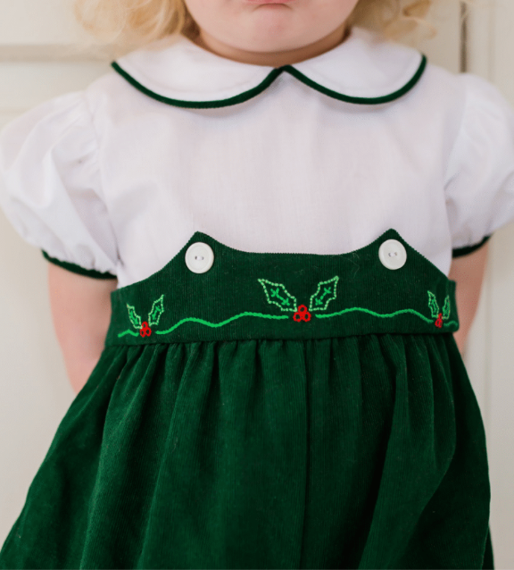 Holly Embroidered Green Bubble