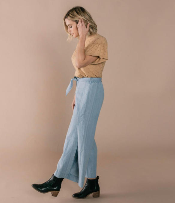 Dusty Blue Wide Leg Pant