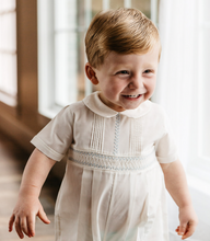 Load image into Gallery viewer, Vintage Ivory Smocked Romper