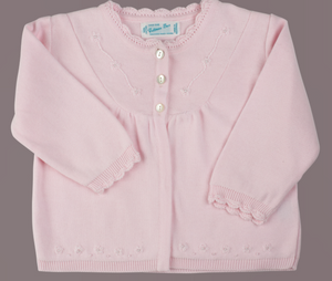 Pink Pearl Flower Embroidered Knit Cardigan