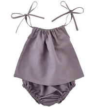 Load image into Gallery viewer, Gray Heirloom Smock Top & Bloomers