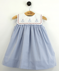 Dress w/ Bloomer & Square Collar & Sailboat Stitching