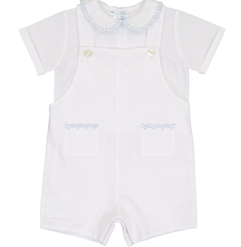 White W/Blue Vintage Pocket Shortall