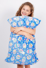Load image into Gallery viewer, Blue Unicorn Cupcake Pillowcase